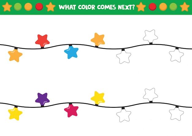 Luzes de natal em formas de estrelas para colorir planilha Vetor Premium