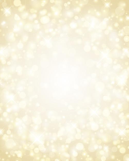 Luzes de natal glitter dourados de brilho brilhante, ilustração mágica bokeh Vetor Premium