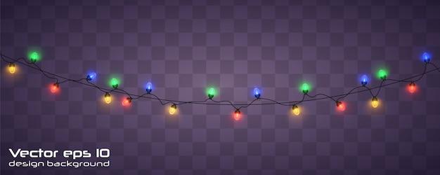 Luzes de natal. guirlanda de natal brilhante. Vetor Premium