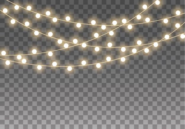 Luzes de natal isoladas em fundo transparente para cartões, banners, cartazes, design web. conjunto de guirlanda de natal dourada brilhante led ilustração de lâmpada de néon Vetor Premium