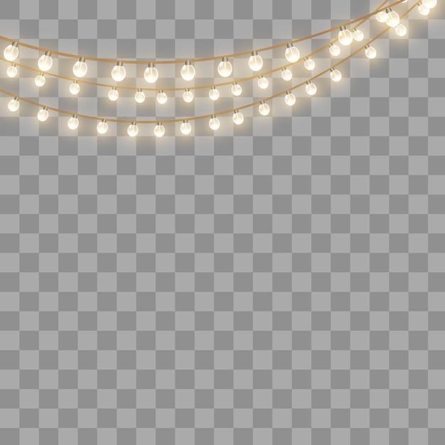 Luzes de natal, isoladas em um fundo transparente. guirlanda de natal brilhante. Vetor Premium