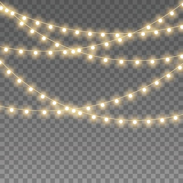 Luzes de natal isoladas Vetor Premium