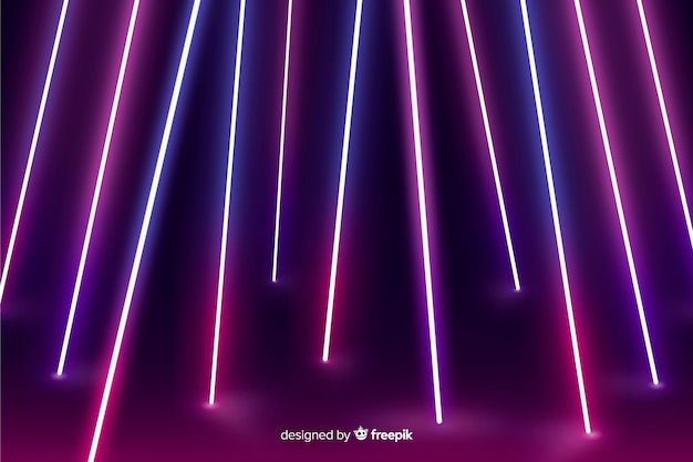 Luzes de néon fluorescentes fundo de estágio Vetor grátis