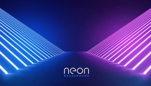 Luzes de néon futurista fundo de andar de palco Vetor grátis