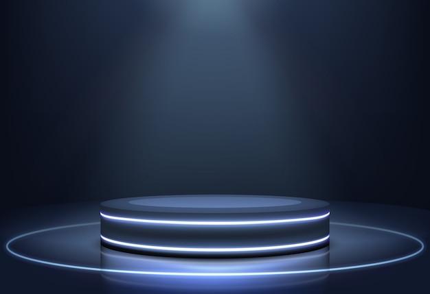 Luzes de néon iluminadas palco vetor realista Vetor grátis