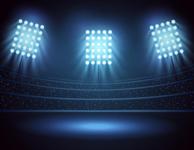 Luzes do estádio e campo de três focos. ilustração vetorial Vetor Premium