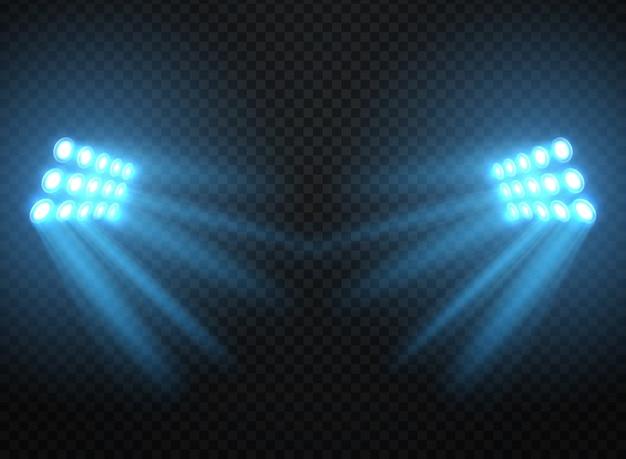 Luzes do estádio, projetores brilhantes isolados. modelo de holofotes de vetor Vetor Premium