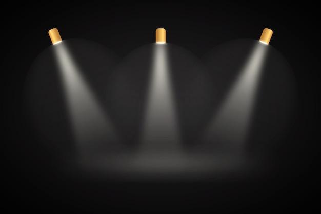 Luzes do ponto fundo preto studio Vetor grátis