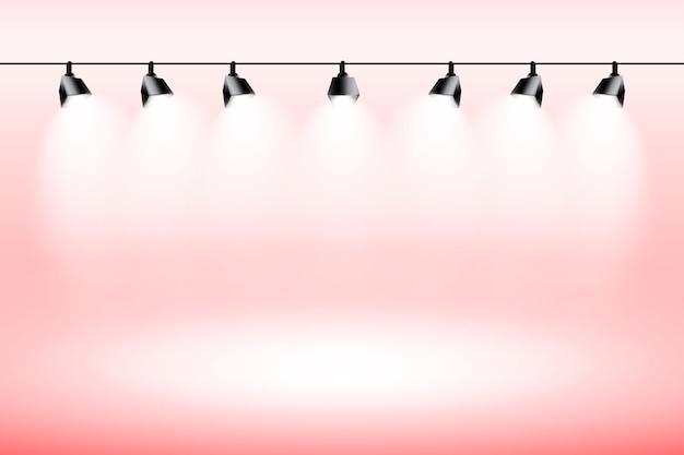 Luzes do ponto fundo vermelho studio Vetor grátis
