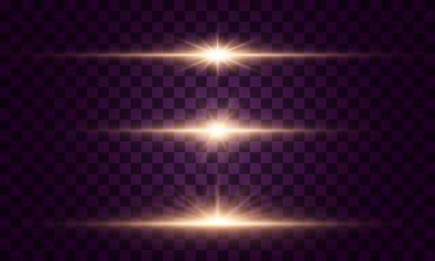 Luzes e estrelas brilhantes. isolado em fundo transparente. conjunto de luz explode. partículas de poeira mágica cintilantes. estrela brilhante, brilhos sol brilhante transparente, efeito de luz flash Vetor Premium