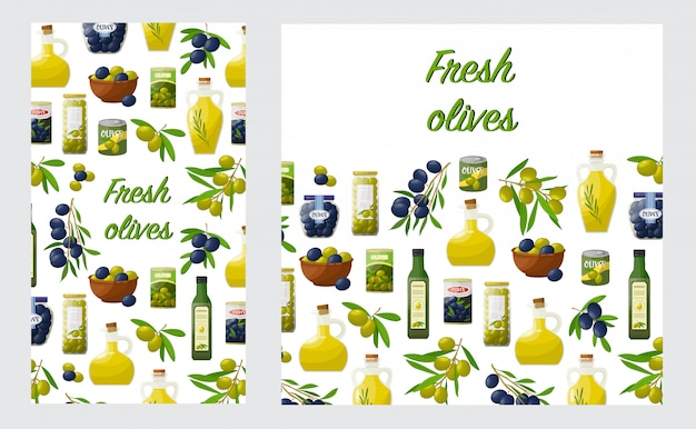 Lyer com produtos de azeitonas Vetor Premium