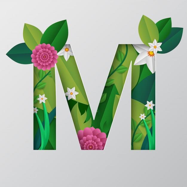 M alfabeto feito por design floral. Vetor Premium