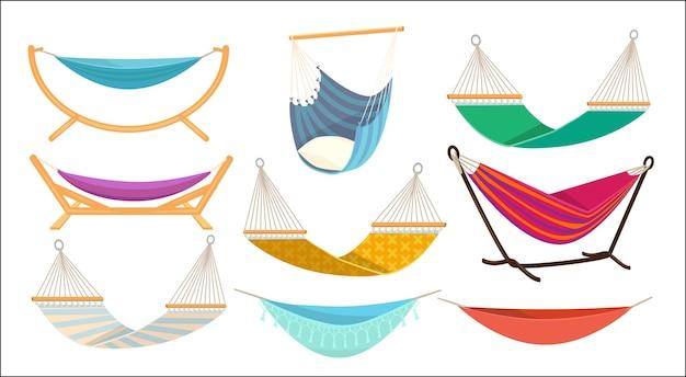 Maca. relaxe em uma rede de tecido decorativo colorido ao ar livre pendurada em um local de descanso confortável. ilustração de balanço de rede, relaxe confortável cama de balanço Vetor Premium