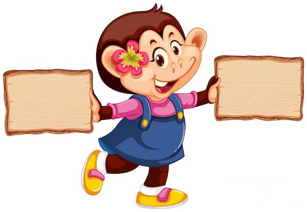 Macaco com placa de madeira Vetor grátis