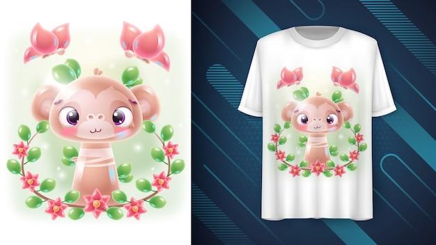 Macaco de flor Vetor grátis