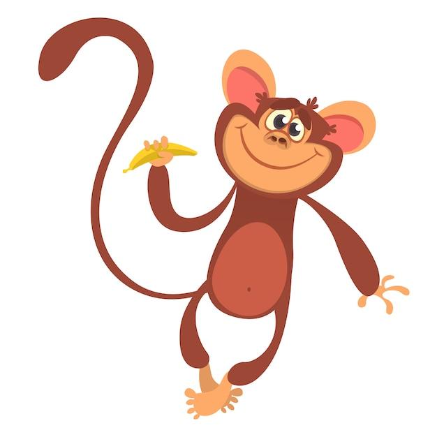 Macaco engraçado dos desenhos animados Vetor Premium