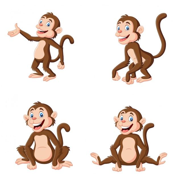 Macaco feliz dos desenhos animados em pose diferente Vetor Premium