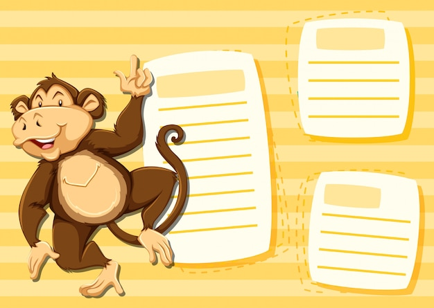 Macaco no modelo de nota Vetor grátis