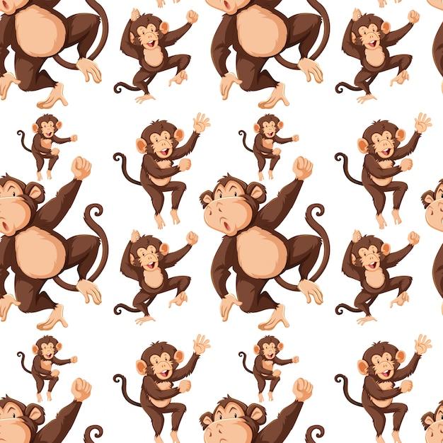 Macaco no padrão sem emenda b Vetor grátis