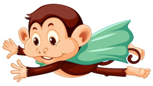Macaco vestindo capa voando no fundo branco Vetor grátis