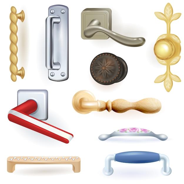 Maçaneta de porta maçaneta de vetor para trancar portas em casa e maçaneta de metal em conjunto de ilustração interior de casa Vetor Premium