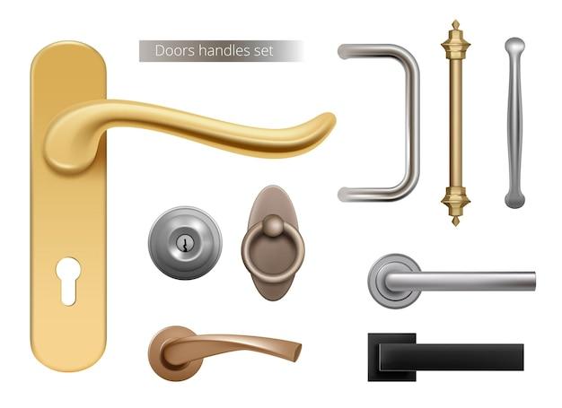 Maçanetas modernas. puxadores de metal prateado e dourado para elementos internos de portas abertas de ambientes realistas. ilustração de maçaneta, fechadura e maçaneta Vetor Premium