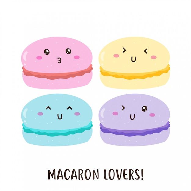 Macarons coloridos felizes fofos vector design Vetor Premium