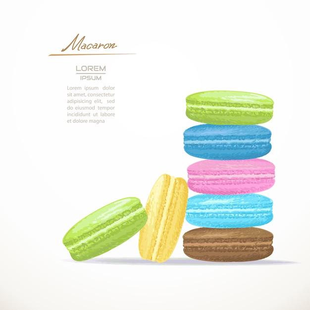 Macarons franceses coloridos Vetor Premium
