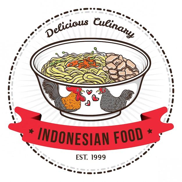 Macarrão de comida indonésia com modelos de design de distintivo de tigela chinesa Vetor Premium