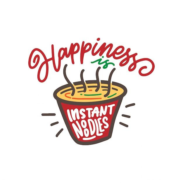 Macarrão instantâneo felicidade Vetor Premium