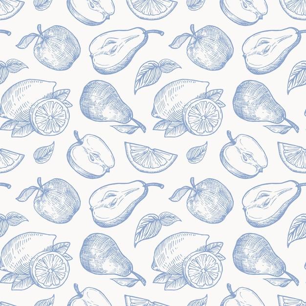 Maçãs desenhadas à mão, peras e limões, colheita perfeita Vetor grátis
