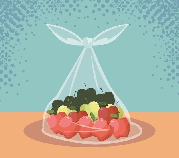 Maçãs frescas frutas em saco plástico Vetor Premium