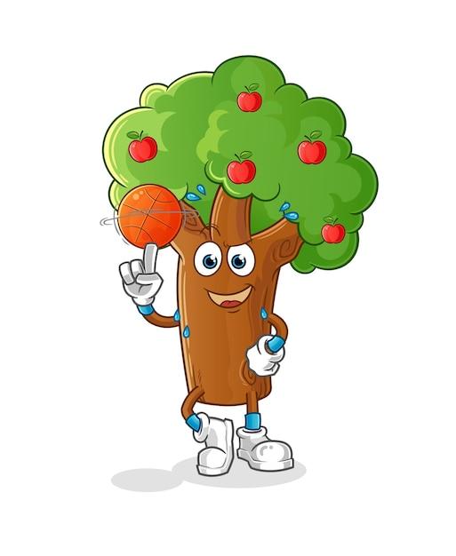 Macieira jogando mascote do basquete. desenho animado Vetor Premium