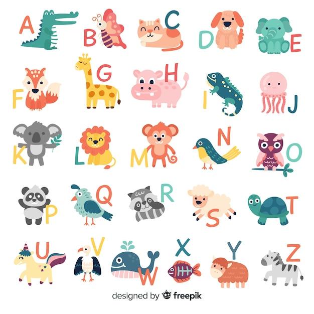 Maço de cartas com animais fofos Vetor grátis
