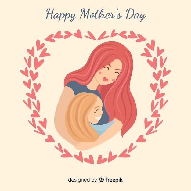 Mãe, abraçando, filha, mãe, dia, fundo Vetor grátis