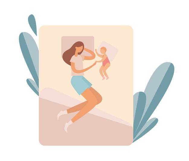 Mãe com bebê descansando na cama. ilustração Vetor Premium
