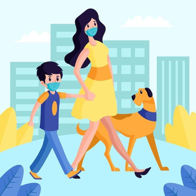 Mãe com criança e seu cachorro andando no parque Vetor Premium