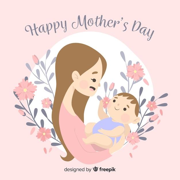 Mãe, com, dela, bebê, dia mãe, fundo Vetor grátis