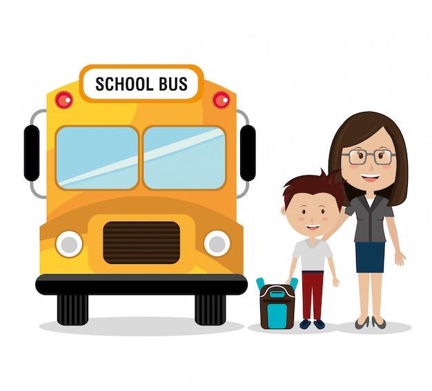Mãe com seu filho de ônibus escolar Vetor grátis