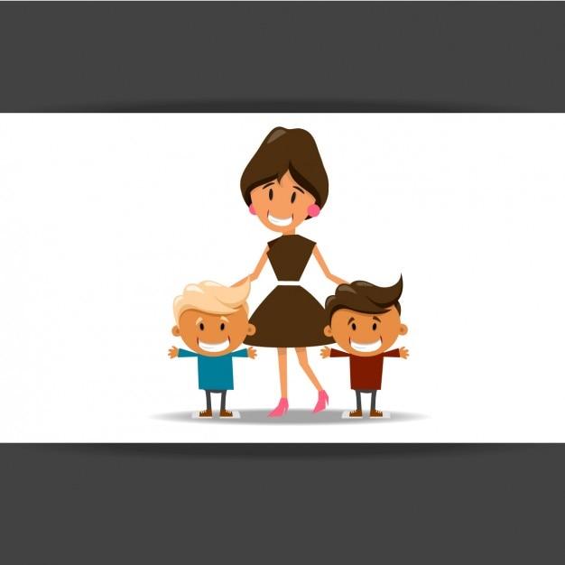 Mãe com seus filhos Vetor grátis