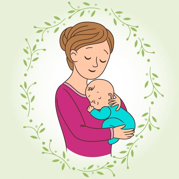 Mãe com um bebê Vetor Premium