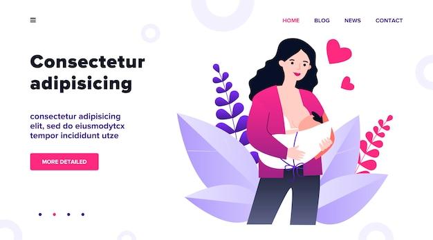 Mãe de desenho animado feliz amamentando ilustração bebê. jovem mãe dando leite para criança. alimentação natural via mama. nutrição saudável, maternidade e conceito dos pais Vetor Premium