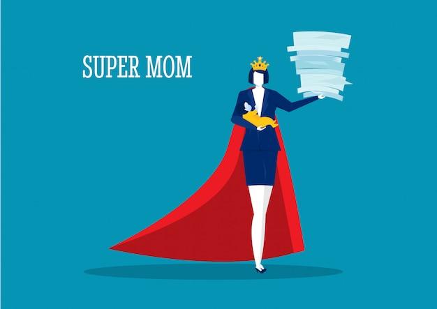 Mãe de mulher herói fazendo trabalho de escritório e lição de casa sozinha. super mãe Vetor Premium