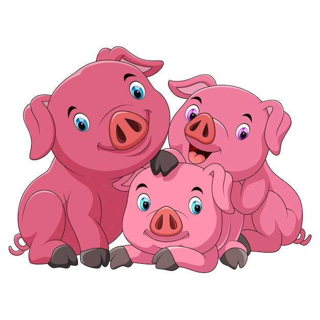 Mãe de porco feliz dos desenhos animados com leitões Vetor Premium