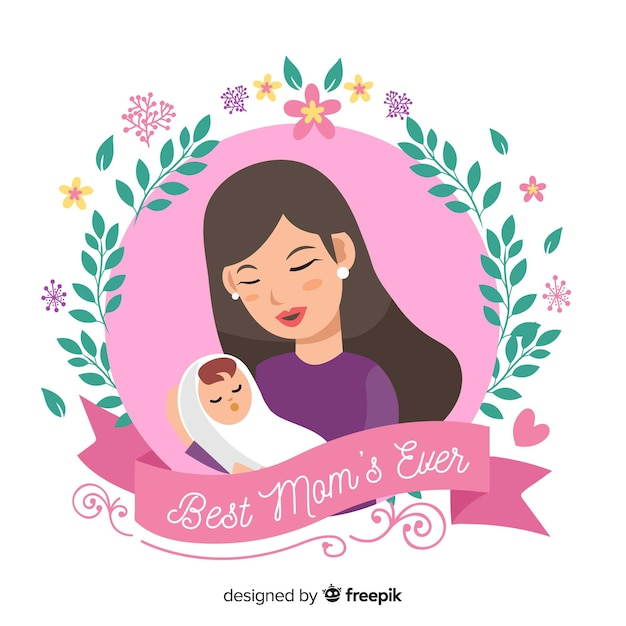 Mãe dia mãe, abraçando, dela, bebê, fundo Vetor grátis