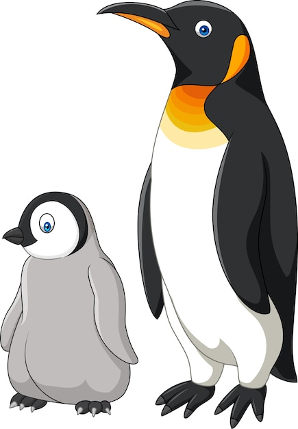 Mae Dos Desenhos Animados E Bebe Pinguim Isolado No Fundo Branco