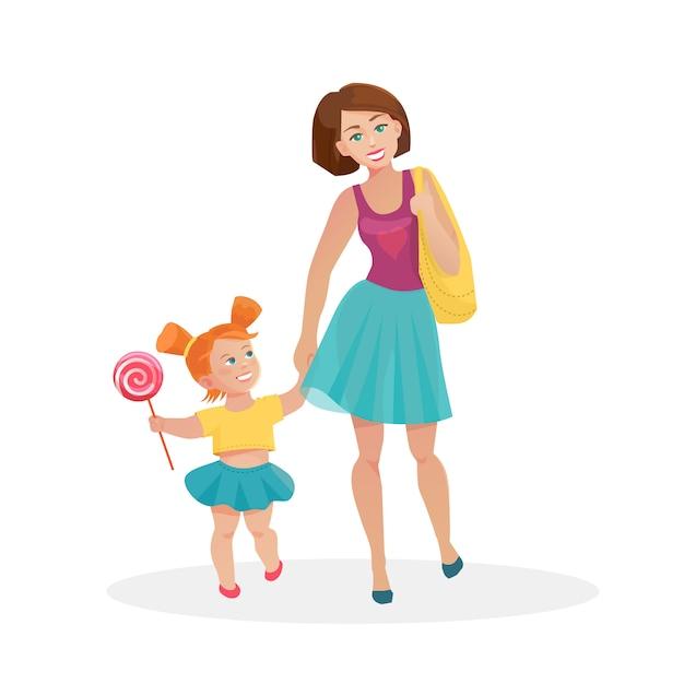 Mãe e filha caminhando Vetor Premium