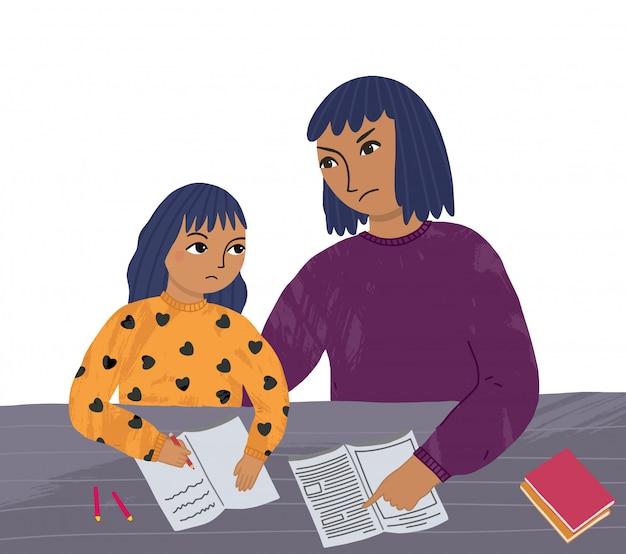 Mãe e filha fazem a lição de casa. problemas de comunicação entre pai e filho. ensino a distância em casa. Vetor Premium