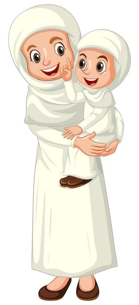 Mãe e filha muçulmanas árabes em roupas tradicionais isoladas Vetor grátis