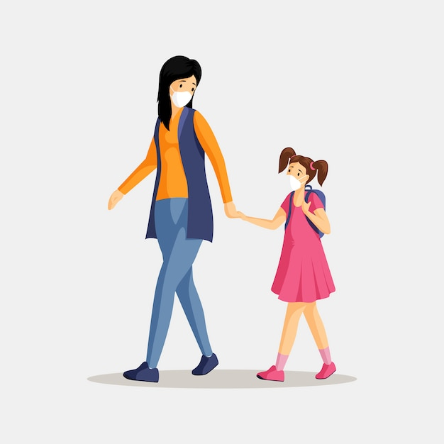 Mãe e filha na ilustração de respiradores. mulher e menina com máscaras protetoras isolaram personagens de desenhos animados plana. proteção contra poluição do ar, poeira, poluição atmosférica e emissões industriais Vetor Premium